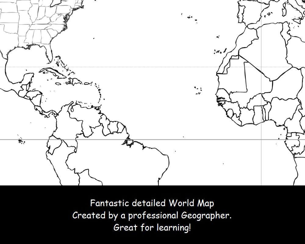world map coloring page black u0026 white map countries outline