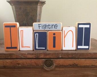 University of Illinois Fighting Illini Decor Blocks