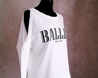 BALLIN New York cotton cut out shoulder long sleeved top White Sweater Size M/L