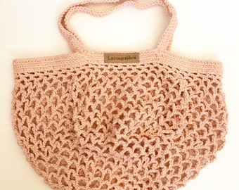 Blush colour hand knitted produce bag - large