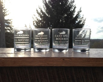 Etched Bourbon Glass with Bourbon Quote