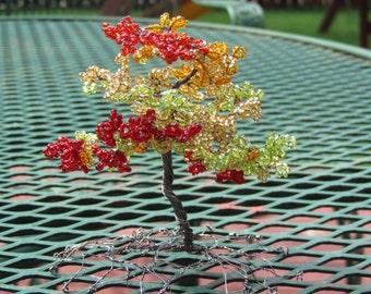 Beaded Wire Bonsai: Autumn Maple