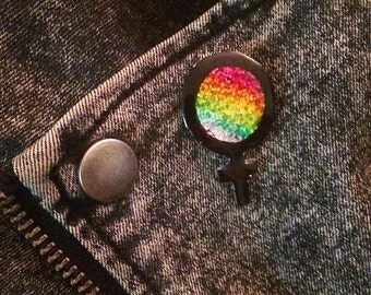 Female Symbol, Feminist, Glitter Pin