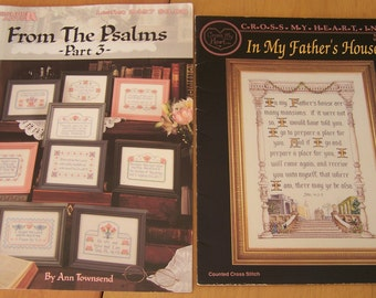 Lot of 6 Vintage Cross Stitch pattern leaflets - Christian themed - Counted cross stitch designs