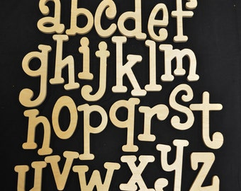 "Whimsical wooden letters supply- craft supplies - set of wooden alphabet letters - all lowercase - wood letters- 4"" to 6"" letter size"