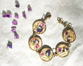 Romantic bracelet of days gone by with flowers and Amethyst