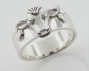 Dairy Cow Ring Calf Heifer Sterling Silver Ring