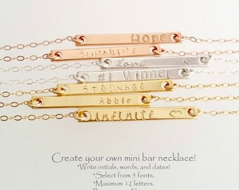 Personalized bar necklace | Name Bar | custom bar necklace | skinny bar necklace | dainty bar | bridesmaid necklace