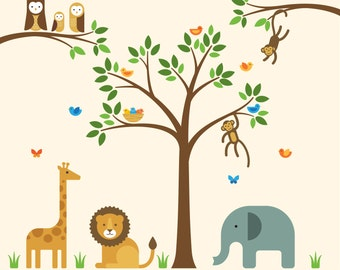 Nursery Decal Safari, Nursery Decal, Nursery Wall Safari - Large