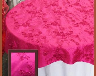"Fuchsia Ribbon Taffeta Overlay Wedding and Party Supplies 58"" X 58"""