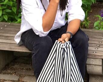 Stripes Vinyl Drawstring Bag