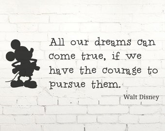 Mickey Mouse Disney Inspirational Children's Wall Quote - Vinyl Wall Stencil Art Graphic Decal