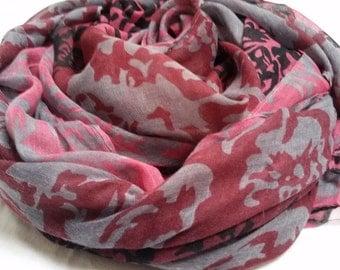 Maroon Blend printed scarf/hijab