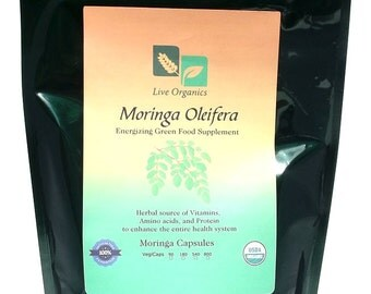 Live Organics Moringa Capsules 500 mg 90 > 800 ct - Certified USDA Organic