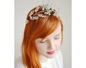 Leaf Crown, Antique Silver , Vintage Silver Bridal Tiara, Art Deco Headpiece, Silver Floral Garland