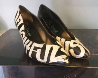Delightfully Misanthropic hand painted Nina pumps // 80s // 90s