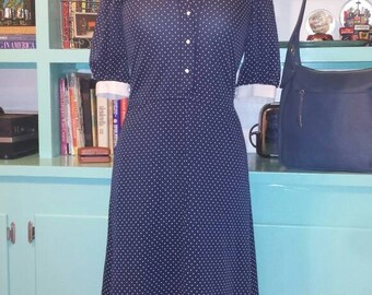 Navy Polka Dot A Line dress with white collar // 60s