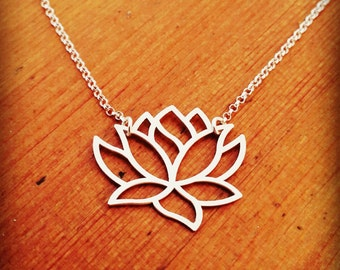 Silver Lotus Flower /  Buddhism Lotus Necklace / Meditation necklace / Yoga Necklace /  Made to Order / Gift Especially for You