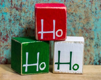 Primitive Country Red Green and White Ho Ho Ho Wood Blocks Set