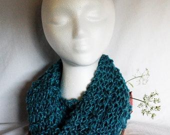 Cowl Scarf, Infinity Scarf, Teal, Light-weight Knit, ALS Donation