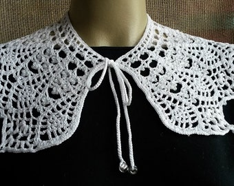 Hand made crochet collars - Knitted detachable collar - Handmade collar - Knitted lace collar - White knitted collar