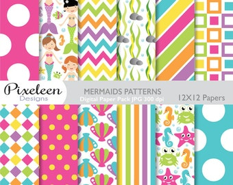 Mermaids Digital Paper, Mermaids Patterns, chevron ,polka dots, stripes, scrapbooking, invitations, paper crafts, INSTANT DOWNLOAD