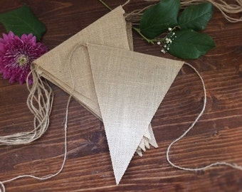 DIY Burlap Triangle Banner - Lettered Bunting - Neutral Individual Jute Banners - HI143-72