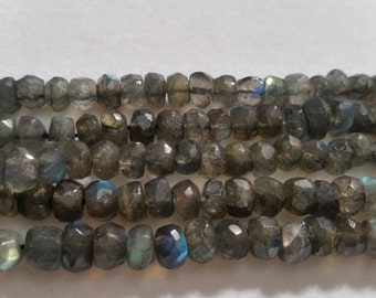 """Labradorite hand cut faceted B Quality , size 7mm , Length of strand 14"""""""