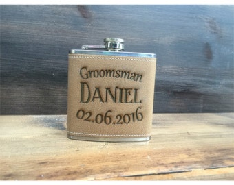 Set of 3 Groomsmen Flasks, Personalized Engraved Groomsman Flask, Personalized Groomsman Flask, Wedding Party Flask, Best Man Flask, Hip