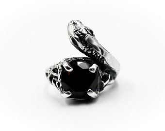 Snake ring/sterling silver and 9mm black zircon