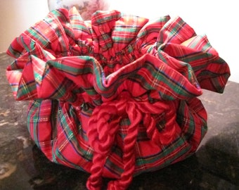 Christmas Plant Jacket - Red Plaid - Adjustable with Liner
