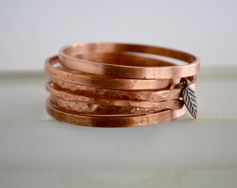 Copper bangle bracelet - hammered textured hand-forged smooth finish free shipping! arizona jewelry unique gift favorite classy