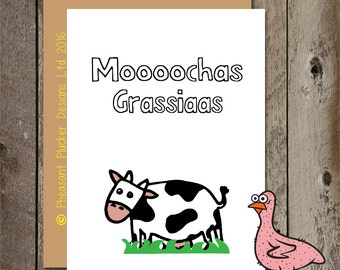 Moochas Grassiaas - Thank You Card