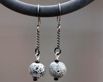 Dalmation glazed bead drop earrings
