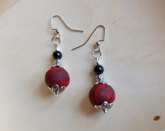 Red and Black polymer clay and Black Pearl Earrings