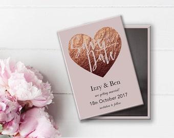 Save the Date Wedding Magnet - Rose Gold Blush Pink