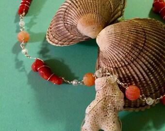 Hawaiian Coral Beaded Chain Necklace