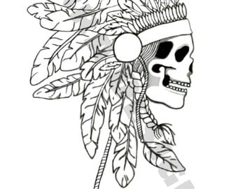 Indian Skull Adult Colouring Page Tribal
