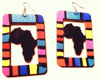 10% off Multi color Africa earrings