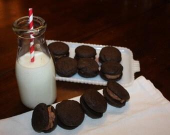 Double Chocolate Cookies with Chocolate Buttercream--1 dozen