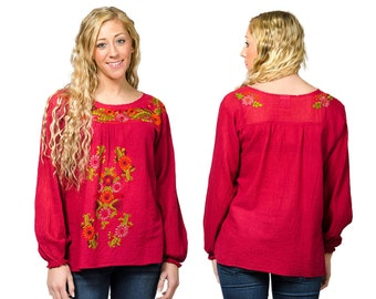 Long Sleeve Embroidered Peasant Blouse - Red - 3109R