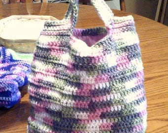 Pink Camo Crochet Top Handle Purse