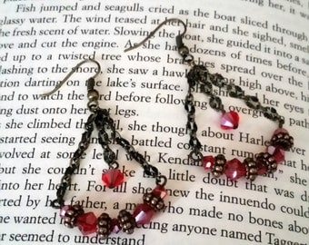 Antique and Red Colored Dangle Earrings