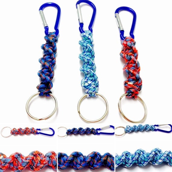 Blue camo keychains paracord keychains carabiner keychains for How to make a keychain out of paracord