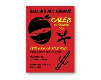 Ninja Warrior Invitation - Ninja Birthday Invitation - Ninja Warrior Birthday Party Invitation - Personalized Invite