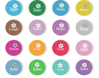 Buttons, Pinback, Key chain, Magnet, Flower, Inspiration