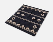 Small Minimalist Aztec Rug | Vintage Wool Small Square Rug or Wall Art