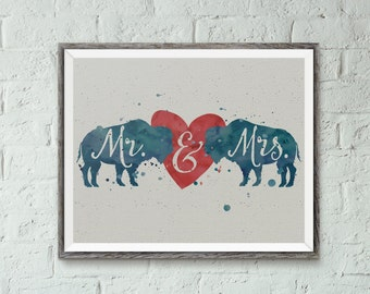 Buffalove Handlettered Typographic Buffalo Bills Mr. & Mrs. Watercolor Wedding and 1st Anniversary Digital 8x10 Print for Instant Download