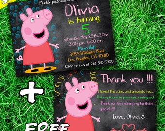 Peppa Pig Birthday Invitation, Peppa Pig Invitation, Peppa Pig Party Invitation + Thank you card free