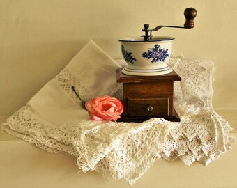 Vintage Wooden Ceramic White and  Blue Floral Manual Coffee Grinder